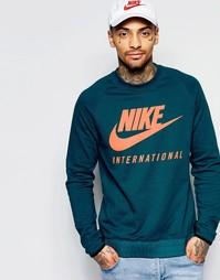 Синий свитшот с круглым вырезом и надписью International Nike 802373-3