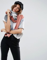 Длинный оversize-шарф с узором в виде шевронов и полосками ASOS