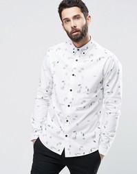 Рубашка со сплошным принтом в виде перьев Only & Sons - Белый
