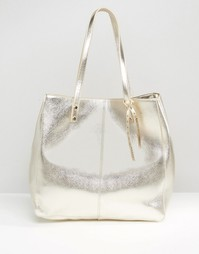 Структурированная сумка для покупок с эффектом металлик ASOS - Золотой