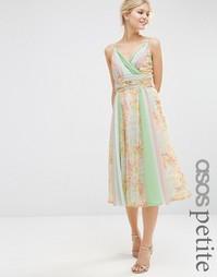 Платье миди в стиле колор блок с принтом для миниатюрных ASOS PETITE