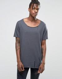Меланжевая фактурная футболка цвета слоновой кости с состаренным эффек Asos