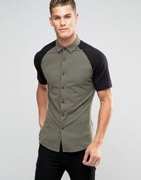 Трикотажная рубашка хаки суперзауженного кроя с черными рукавами регла Asos