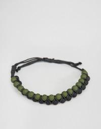 Браслет с черными резиновыми бусинами и цвета хаки ASOS - Черный