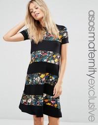 Платье-футболка для беременных в полоску с цветочным принтом ASOS Mate