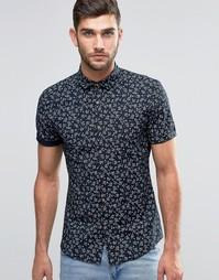 Рубашка скинни с короткими рукавами и цветочным принтом ASOS
