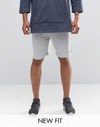Серые меланжевые трикотажные шорты с вышивкой ASOS - Серый меланж