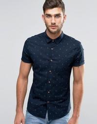 Зауженная рубашка с короткими рукавами и принтом якори ASOS