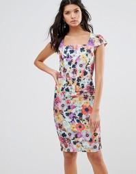 Платье-футляр с короткими рукавами и цветочным принтом Paper Dolls