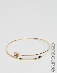 Незамкнутый браслет в виде стрелы ASOS CURVE - Золотой