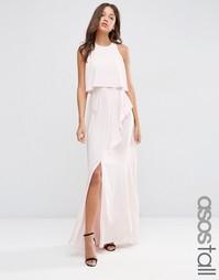 Платье макси с кроп-топом, оборкой и разрезом ASOS TALL - Телесный