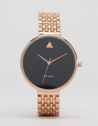 Большие черные часы с узким ремешком-браслетом ASOS - Розовое золото