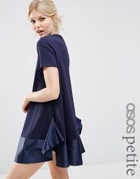 Платье-футболка с атласной оборкой ASOS PETITE PREMIUM - Темно-синий