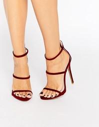 Бордовые сандалии на каблуке с ремешками Public Desire Sparra