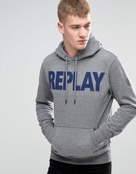 Серый меланжевый свитшот с капюшоном и фетровым логотипом Replay