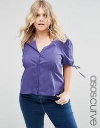 Блузка с завязками на манжетах ASOS CURVE - Темно-синий