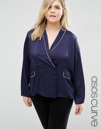 Атласная пижамная блузка с карманами ASOS CURVE - Темно-синий