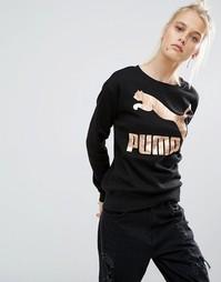 Свитшот c золотистым логотипом Puma - Черный хлопок