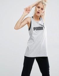 Удлиненная майка с классическим логотипом Puma - Светло-серый