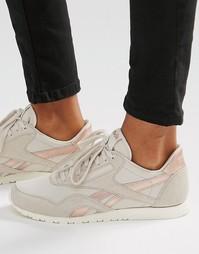 Телесные кроссовки с золотисто-розовой отделкой Reebok Classic
