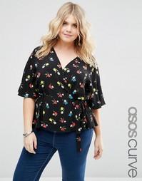 Блузка с цветочным принтом и запахом спереди ASOS Curve - Мульти