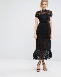 Платье миди с ажурным кружевом Foxiedox Elodie - Черный