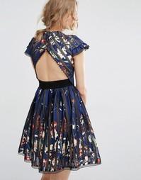 Коктейльное платье с вырезом на спине Foxiedox Bryonia - Мульти