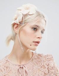 Повязка на голову с вуалеткой и цветочной отделкой ASOS - Телесный