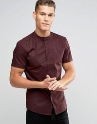 Бордовая рубашка скинни с воротником с застежкой на пуговицах ASOS