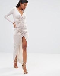 Платье макси с длинными рукавами и сборками Club L - Stone