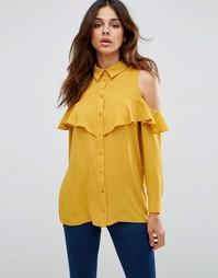 Блузка с открытыми плечами и рюшами ASOS - Горчичный