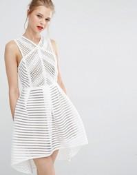 Короткое приталенное платье из кружева Supertrash - Бежевый