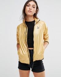 Спортивная куртка с эффектом металлик Puma - Бледно-золотистый