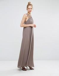 Платье макси с бретельками BCBG Max Azria - Испанский мох
