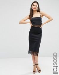 Платье с кружевными вставками ASOS TALL - Черный