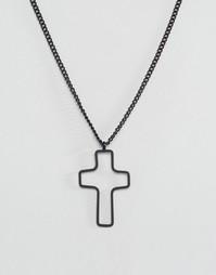 Черное ожерелье с крестом ASOS - Черный