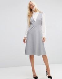 Двухслойное платье миди ASOS - Серый