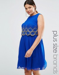 Приталенное платье без рукавов Lovedrobe Luxe - Синий