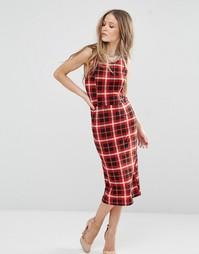 Платье миди в клетку QED London - Красный