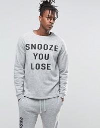 Свитшот в стиле casual с непсами и принтом ASOS - Серый