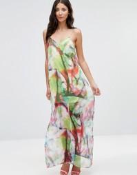 Шифоновое платье макси на бретельках Twin Sister - Неоновые краски