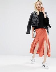 Мягкая юбка миди ASOS - Красно-бурый