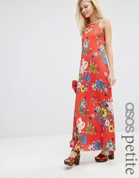 Красное плиссированное платье макси с цветочным принтом ASOS PETITE
