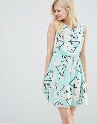 Короткое приталенное платье с принтом Iska - Torque