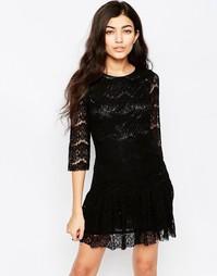 Кружевное платье с оборками по краю Iska - Черный