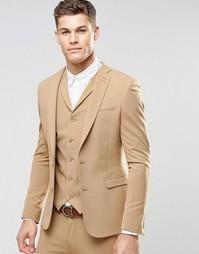 Бежевый супероблегающий пиджак ASOS - Кэмел