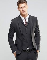 Темно-серый супероблегающий пиджак ASOS - Угольный