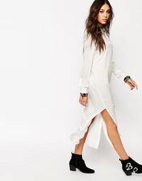 Удлиненная рубашка с разрезами по бокам Noisy May - Белый