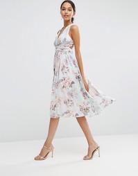 Платье миди с нежным цветочным принтом ASOS WEDDING Hollywood - Мульти