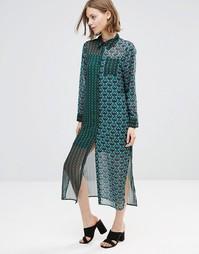 Длинное платье-рубашка с принтом Style London - Зеленый многоцветный